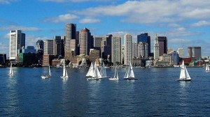 Boston Sailing in the Boston Harbor near the city's luxury real estate