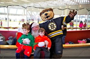 Santa and the Bruins Bear at Steriti Rink in North End