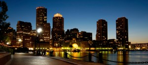 View of the Boston waterfront at night
