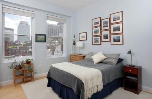 Beacon Hill condo bedroom with large window and high ceilings