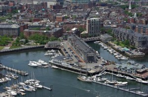 Aerial view of the proposed development at The Pointe in Commercial Wharf, in Boston's Waterfront district