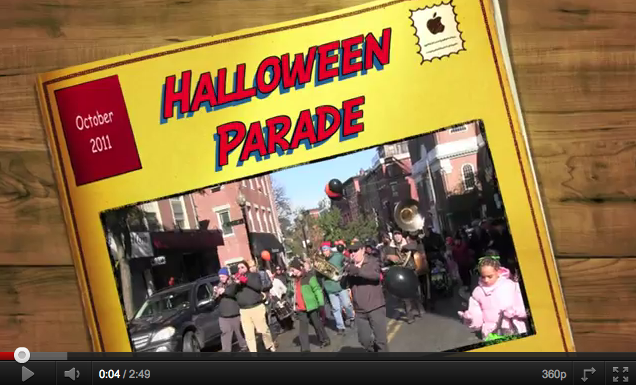 Children and family parade through the North End streets during the 2011 Halloween Parade