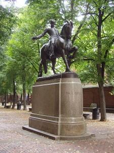 Statue of Paul Revere in the Prado in Boston's North End
